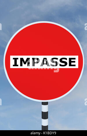 Render illustration of Impasse title on No Entry road sign - Stock Photo