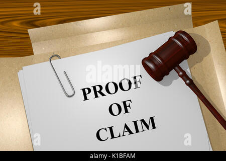 Proof of claim Title On Legal Documents - Stock Photo