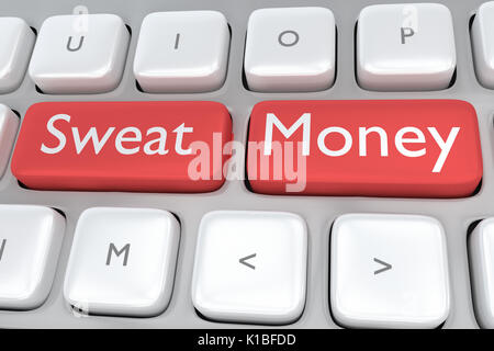 Render illustration of computer keyboard with the print Sweat Money on two adjacent red buttons - Stock Photo