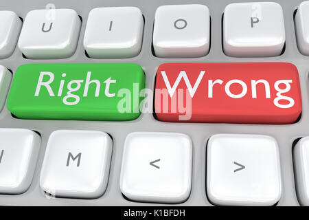 Render illustration of computer keyboard with the print Right on a green button, and the print Wrong on a nearby - Stock Photo