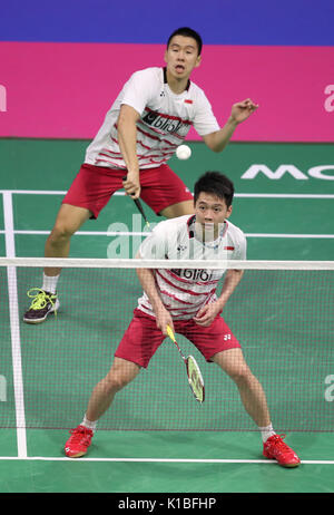 Indonesia's Marcus Fernaldi Gideon (front) and Kevin Sanjaya Sukamuljo in the quarter finals during day five of - Stock Photo