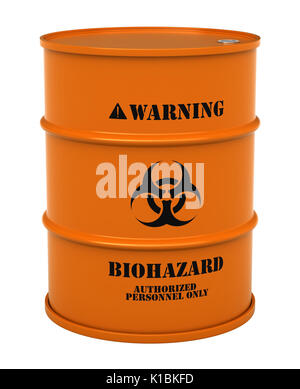 3d render of barrel with biohazard substance isolated over white background - Stock Photo