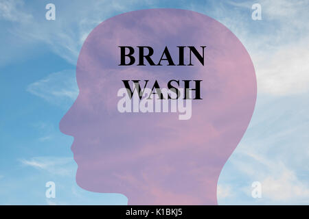 Render illustration of Brain Wash title on head silhouette, with cloudy sky as a background. - Stock Photo