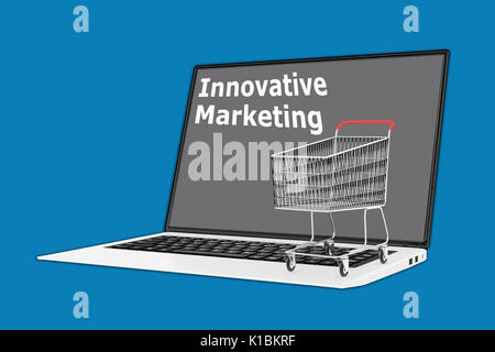 Render illustration of Innovative Marketing concept with a supermarket cart placed on the keyboard. - Stock Photo