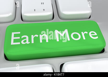 Render illustration of computer keyboard with the print Earn More on a green button - Stock Photo