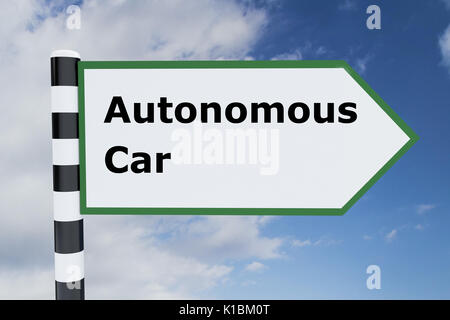 Render illustration of Autonomous Car title on road sign - Stock Photo