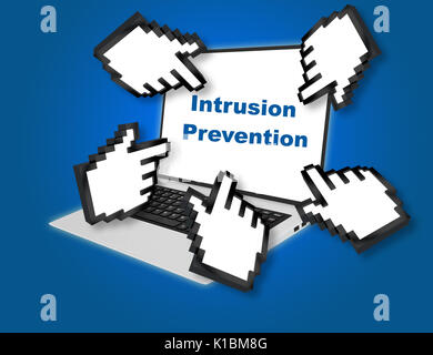 Render illustration of Intrusion Prevention concept with pointing hand icons pointing at the laptop screen from - Stock Photo