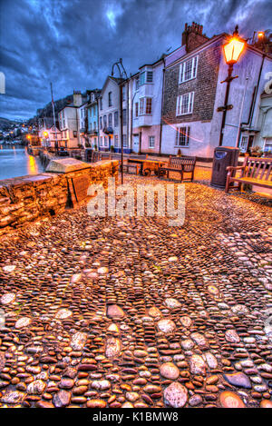 Town of Dartmouth, England. Picturesque dusk view of Dartmouth's historic Bayard's Cove. - Stock Photo