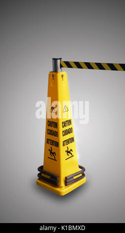 Beware of slippery  yellow sign - Stock Photo