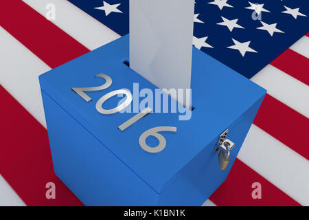 Render illustration of 2016 title on ballot box, with US flag as a background. - Stock Photo