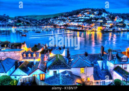 Town of Dartmouth, England. Evening elevated rooftop view of Dartmouth and the River Dart. - Stock Photo