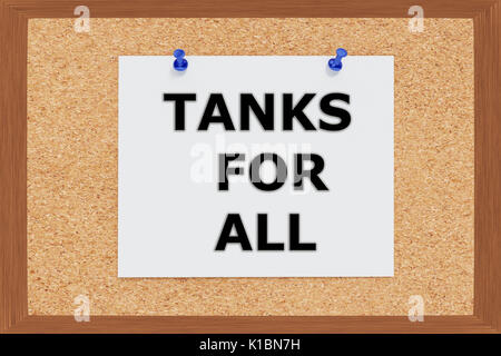 Render illustration of Thanks for All Title on cork board - Stock Photo