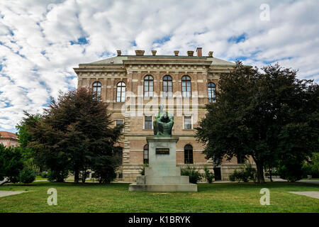 ZAGREB, CROATIA - JULY 14, 2017. The Croatian Academy of Science and Arts and Statue of Biship and benefactor Josip - Stock Photo