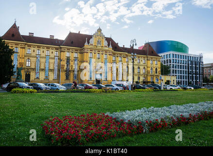 ZAGREB, CROATIA - JULY 14, 2017. Museum of Arts and Crafts and the Music Academy, Zagreb, Croatia - Stock Photo