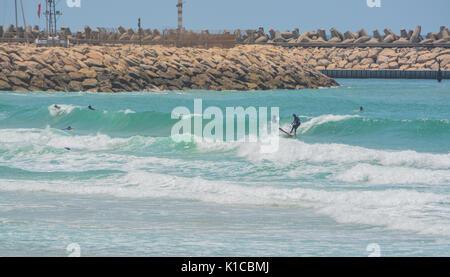 The Mediterranean beach of Ashkelon in Ashkelon, Israel. - Stock Photo