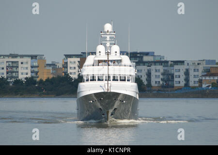 London, UK, 25th August 2017  Super Yacht Hampshire arrives on the river Thames, London, for a port call - Stock Photo