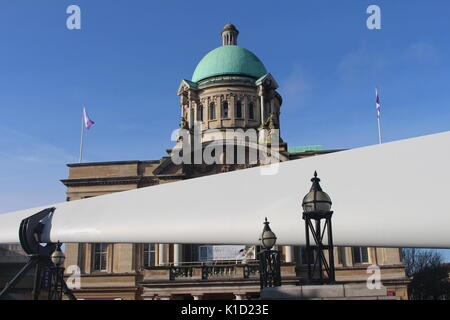 Wind Turbine Blade on front of City Hall, Queen Victoria Square, Hull, City of Culture, Yorkshire, UK - Stock Photo