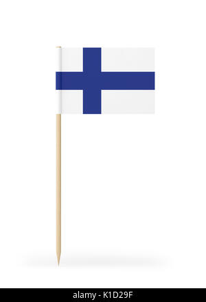 Small Finnish flag  on a toothpick. The flag has nicely detailed paper texture. High quality 3d render. Isolated - Stock Photo