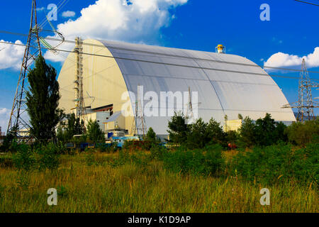 A new sarcophagus after the explosion at the fourth block of the Chernobyl nuclear power plant. Dead radioactive - Stock Photo