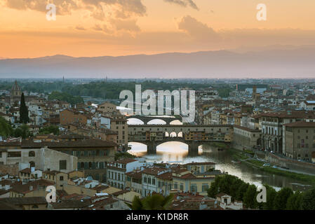 Panoramic view from Piazzale Michelangelo, cityscape at sunset, Ponte Vecchio and river Arno, Florence, Tuscany, - Stock Photo
