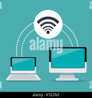 color background of laptop and display computer wireless connection - Stock Photo