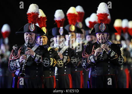 Moscow, Russia. 25th Aug, 2017. The Carabinieri band of Italy perform at the dress rehearsal of the opening ceremony - Stock Photo