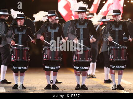 Moscow, Russia. 25th Aug, 2017. Switzerland's Top Secret Drum Corps perform at the dress rehearsal of the opening - Stock Photo