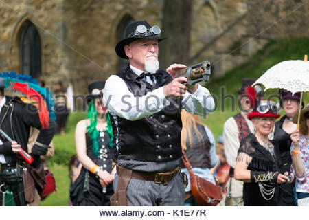 Lincoln, United Kingdom. 26th August 2017. Wild west style steampunk shootout at Lincoln Castle, UK. Lincoln hosts - Stock Photo