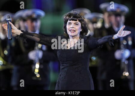 MOSCOW, RUSSIA - AUGUST 25, 2017: French singer Mireille Mathieu (C) performs at the dress rehearsal of the opening - Stock Photo