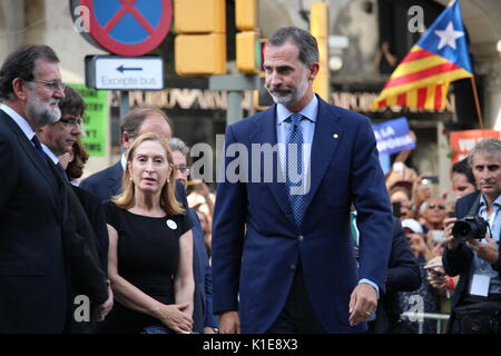 Barcelona, Spain. 26th August, 2017. President of Spanish Government Mariano Rajoy meeting spanish king Felipe VI - Stock Photo