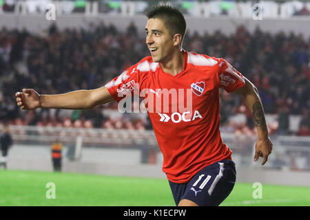 Buenos Aires, Argentina. 26th August, 2017. Leandro Fernandez of Independiente celebrates his goal during the match - Stock Photo