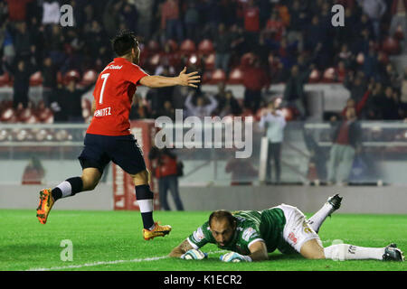 Buenos Aires, Argentina. 26th August, 2017. Martin Benitez of Independiente celebrates his goal during the match - Stock Photo