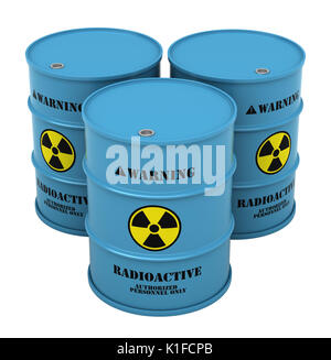 3d render of barrels with radioactive substance isolated over white background - Stock Photo