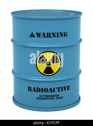 3d render of barrel with radioactive substance isolated over white background - Stock Photo