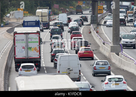 M6 Motorway traffic near roadworks in Knutsford,Cheshire. - Stock Photo