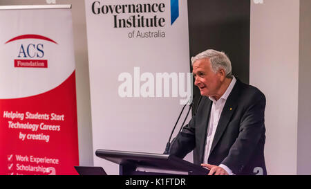The Hon Nick Greiner AC speaking to the CPA Risk Discussion Group in Sydney, August 24th 2017 on the topic of  Risk - Stock Photo