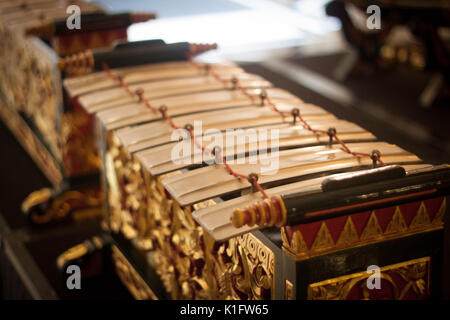 an old exotic traditional gamelan music from java indonesian - Stock Photo