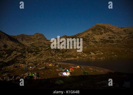 night camping area in Retezat National Park, Romanian Carpathians - Stock Photo