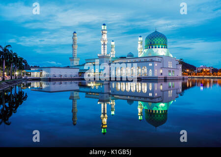 The Kota Kinabalu State Mosque during twilight. - Stock Photo