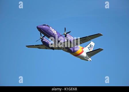 Saab 340B IN FlyBe livery departing Inverness in the Scottish Highlands for Stornaway in the outer Hebrides. - Stock Photo
