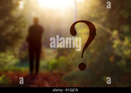 fantasy forest landscape. Mysterious surreal light in gloomy dark forest with fog between trees and man walking - Stock Photo