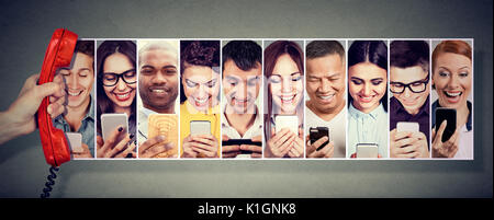 Communication over the telephone. Happy people using mobile smart phone - Stock Photo