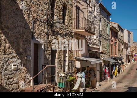 Rue de la Citadelle, old town hilltop section of Porto-Vecchio, Corsica, France - Stock Photo
