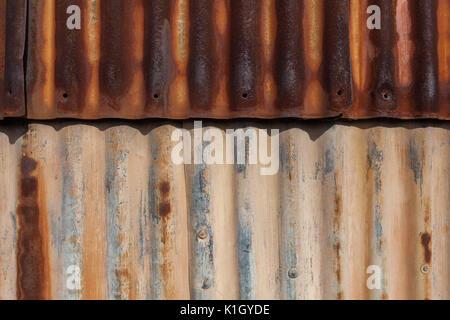 Rusty galvanized iron sheets background pattern - Stock Photo