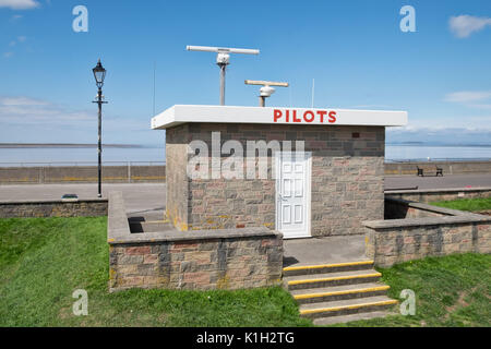 The pilots station above the sea defences overlooking sea at Burnham on Sea - Stock Photo
