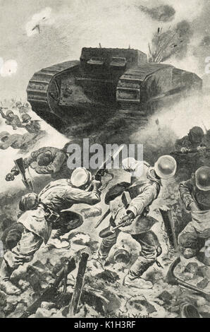 Tank forging through German lines, Battle of the Somme, WW1 - Stock Photo