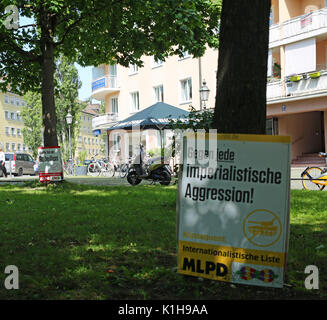 Campaign posters of the MLPD (Marxist-Leninist Party of Germany) against 'imperialism'. (Photo by Alexander Pohl - Stock Photo