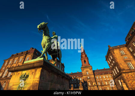 Equestrian statue of King Christian the 9th Copenhagen Denmark Inside the Danish Parliament Christiansborg palace - Stock Photo