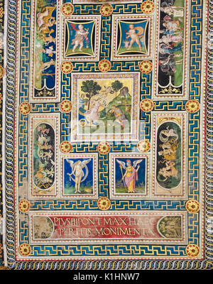 Frescoes (1502) on the ceiling of Piccolomini Library in Siena Cathedral, Tuscany, Italy, by Pinturicchio - Stock Photo