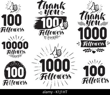 Followers, label or icon. Set of web icons for social network. Lettering vector illustration - Stock Photo